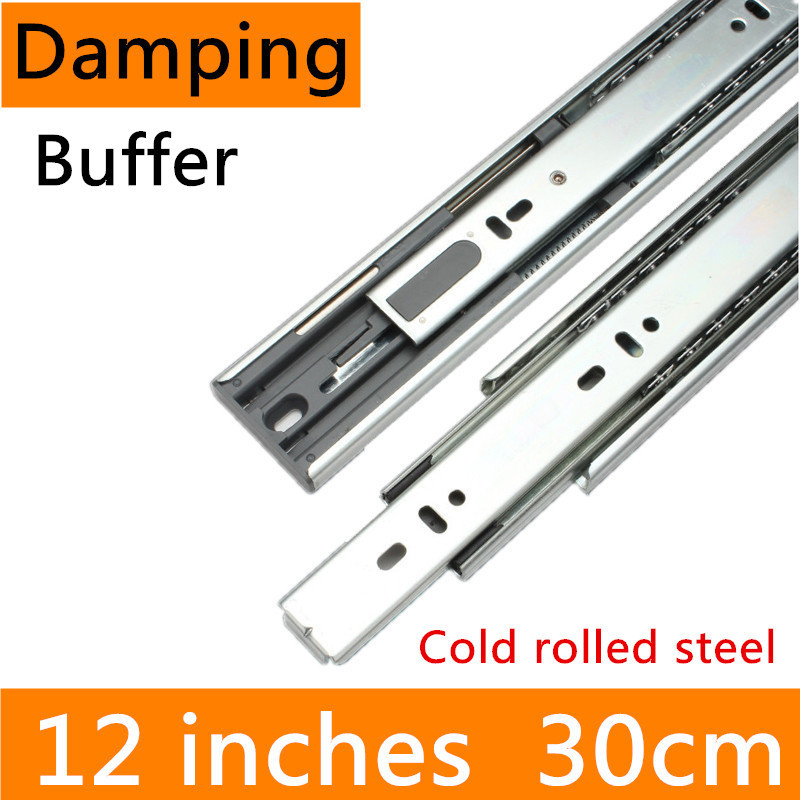 2 pairs 12 inches 30cm Cold-Rolled Steel Hydraulic Damping Buffer Full Extension Drawer Track Slide Guide Rail accessories slide drawer slide rail track three mute hydraulic damping buffer t