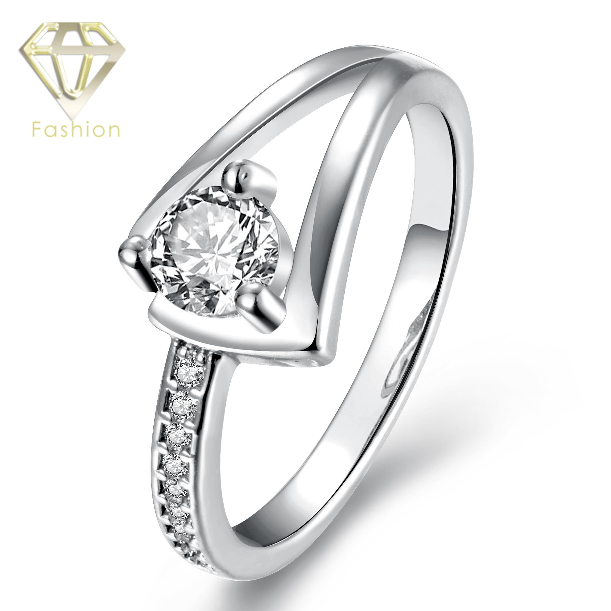 2017 New Design Unique CZ Ring for Women Rose White Gold Color