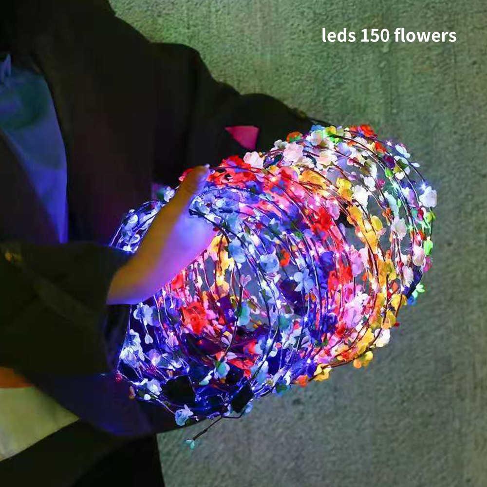 Diadema de flores LED, tocado para niñas, accesorios para el cabello de mimbre para bebé, niños, niños, suministros para fiesta de adultos