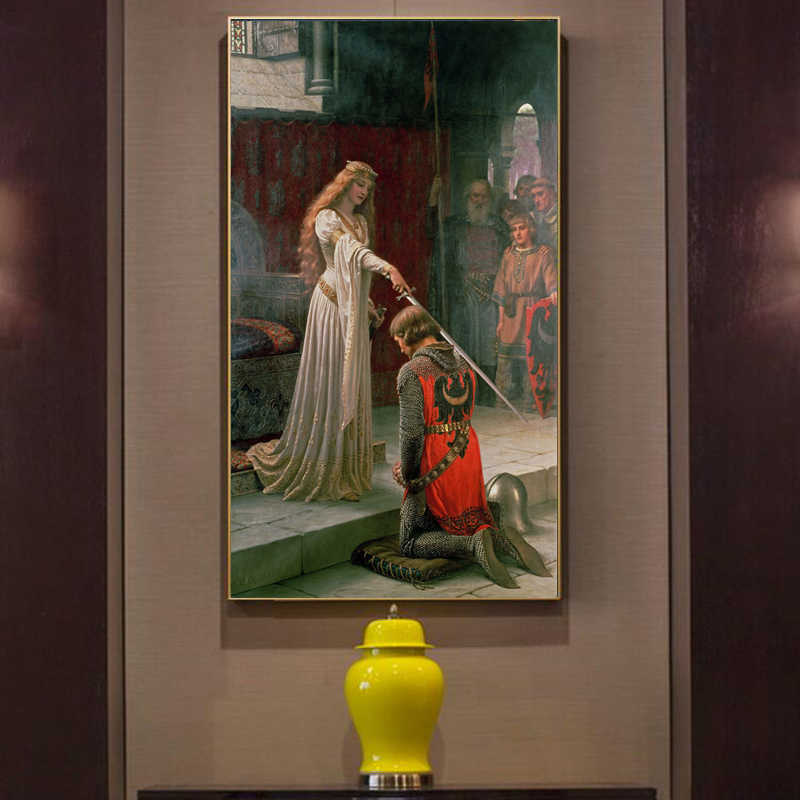 England Famous Painter Edmund Blair Leighton Accolade Posters Print on Canvas Wall Art Canvas Painting for Living Room No Frame