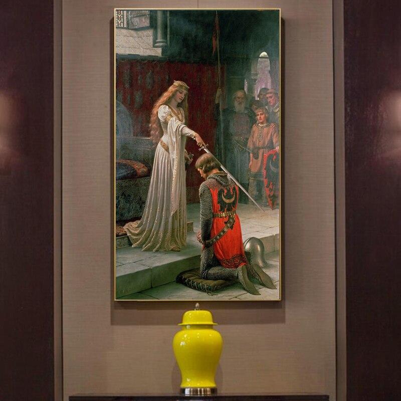 England Berühmte Maler Edmund Blair Leighton Accolade Poster Drucken auf Leinwand Wand Kunst Leinwand Malerei für Wohnzimmer Kein Rahmen
