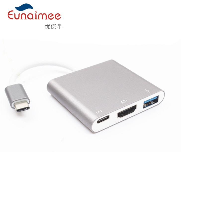 Eunaimee Silver Aluminium 4K HDMI USB 3.1 to USB-C USB3.0 Adapter 3 in 1 Hub