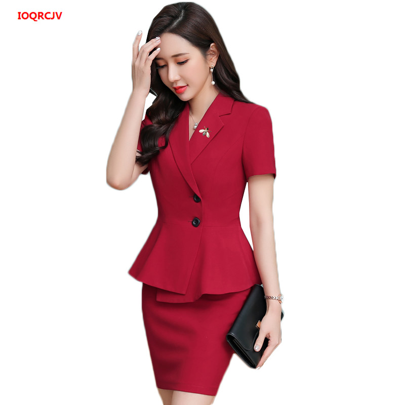 Women Business Suits 2 Piece Skirt and Top Sets Red Blazers Jacket Short Sleeve Blazer Sets Office Ladies Work Wear Uniforms 927