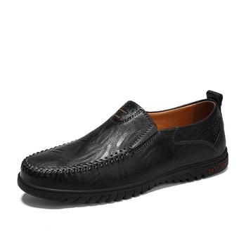 Męskie mokasyny rekreacyjne męskie skórzane buty na co dzień wsuwane modne miękkie wygodne męskie buty mokasyny letnie Sapato Masculino tanie i dobre opinie Dla dorosłych Przypadkowi buty Prawdziwej skóry 2018BZ Gumowe Slip-on Skóra Split L LOUBIT Oddychająca Masaż Wiosna jesień