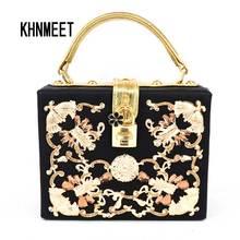 Luxus Kristall Partei clutch Abendtasche Magic Box Mini Koffer schloss retro mode-design klappe frauen handtasche Schwarz umhängetasche