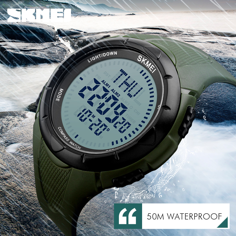 SKMEI Men Sports Watches World Time Compass Countdown Wristwatches 50M Waterproof 3 Alarm Digital Watch Automatic Army Military купить недорого в Москве
