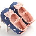 Baby Shoes First Walkers Bow+Dot Girls Dress Shoes Canvas Infant Toddler Moccasins Baby First Walking Shoes Demin Footwear