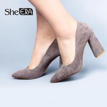She ERA OL Women Pumps New Fashion Pointed Toe High Heels Elegant Pointed Toe Sexy Square Heels Women Shoes недорого