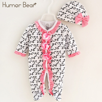Humor Bear 2018New Newborn Infant Baby Boys Girls Romper Long Sleeve Printing Warm Clothes Hooded Jumpsuit