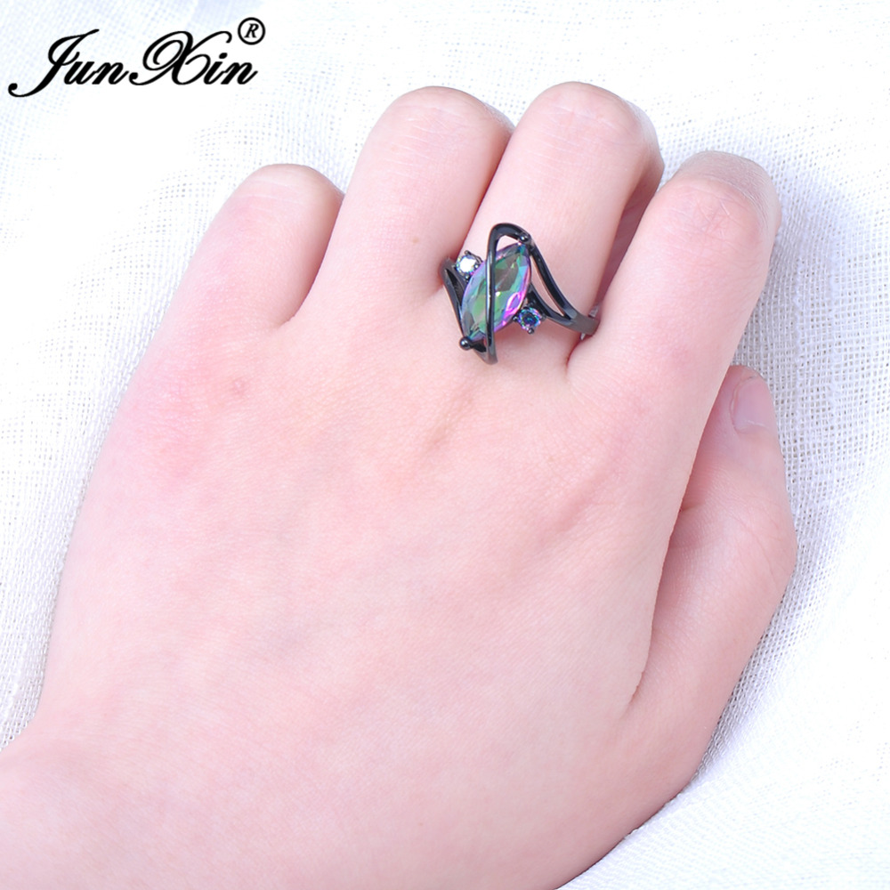 JUNXIN Vintage Women Men S Style Bright Zircon Finger Ring Black ...