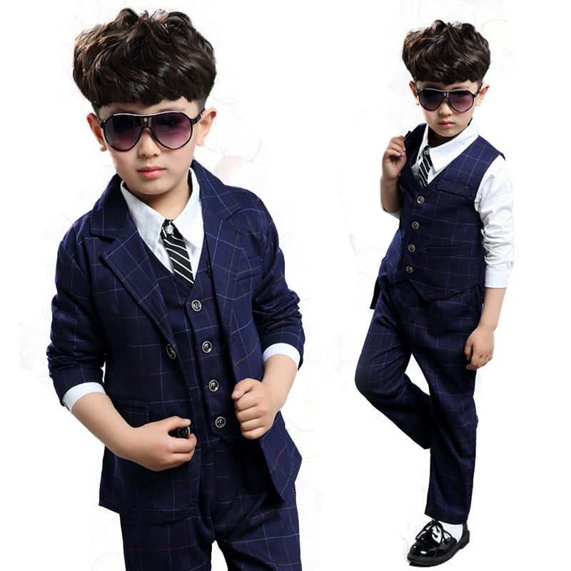 Prom Boys Wedding Outfits Formal Suits Set Boy for Teenagers Gentleman Kids Clothes Sets 3Pcs Cotton Plaid Vest+Jacket+Pants 2017 new boys clothing set camouflage 3 9t boy sports suits kids clothes suit cotton boys tracksuit teenage costume long sleeve