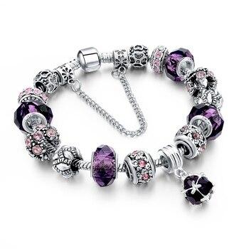 Women's Tibetan Silver Charm Bracelet Bracelets Jewelry Women Jewelry Metal Color: 271 purple