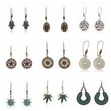 Qihe ювелирные изделия Висячие серьги в форме листьев круглая