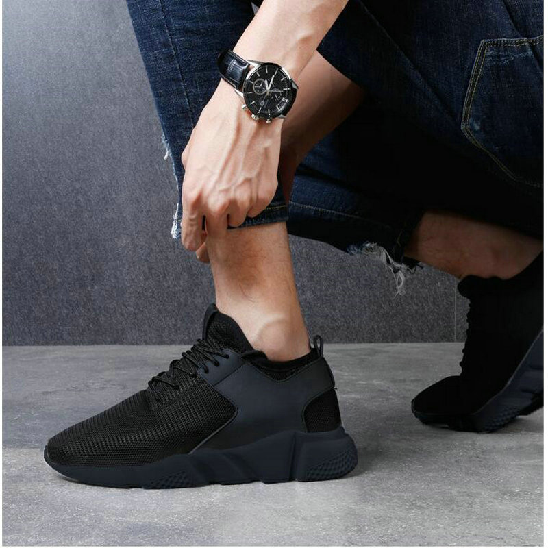 ALL BLACK Men Running Shoes Jogging Men Sneakers Mesh Sport Shoes Zapatillas Hombre Deportiva Trainers Shoes For Men HA-02