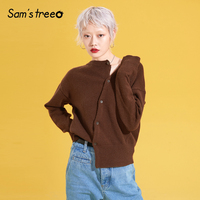 Women Casual Knit Sweater Brief Asymmetric Placket Modest Cardigans Ladies Sweater Brown Fitting Spring Tops