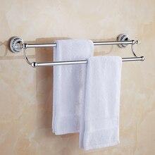European Stainless Steel Towel Bar Hanging Extended Toilet Double Rack  Bathroom Pendant Crystal 60/50