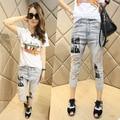 2016, лето, новый Харен брюки женские печать отверстие джинсы женщина все-матч узкие брюки семь