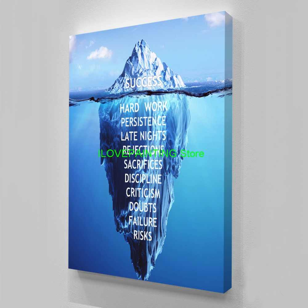 HD Printed 1 piece Canvas Inspirational success Quote Poster Ice Mountain Underwater Painting Motivational Quote