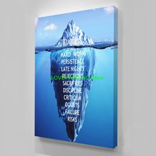 HD Printed 1 piece Canvas Inspirational success Quote Poster Ice Mountain Underwater Painting Motivational Quote(China)
