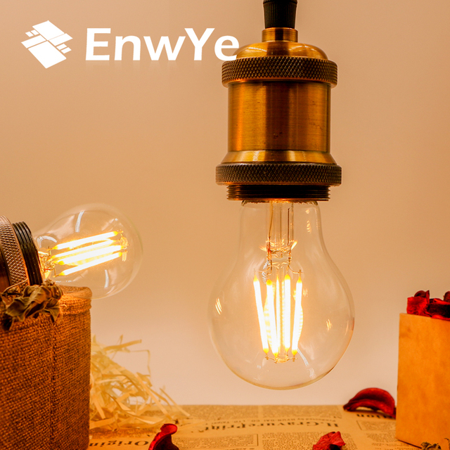 EnwYe Retro Luz de Edison bombilla 4W E27 E14 220V A60 G45 C35 Retro lámpara filamento de tungsteno incandescente bombilla Edison