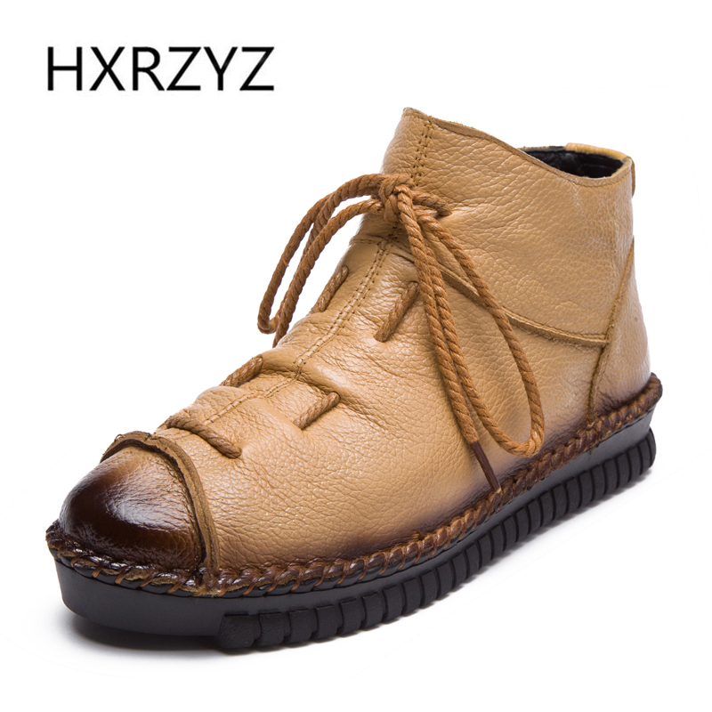 ФОТО HXRZYZ spring and winter new side zipper and ankle lace handmake stitched boots womens winter boots genuine leather boots