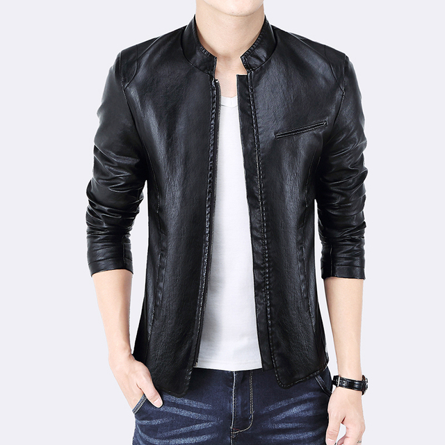 2016 Autumn New Fashion High Quality Men's PU Leather Jacket Men Coats Slim Fit Cool Motorcycle Jackets Men Windbreaker