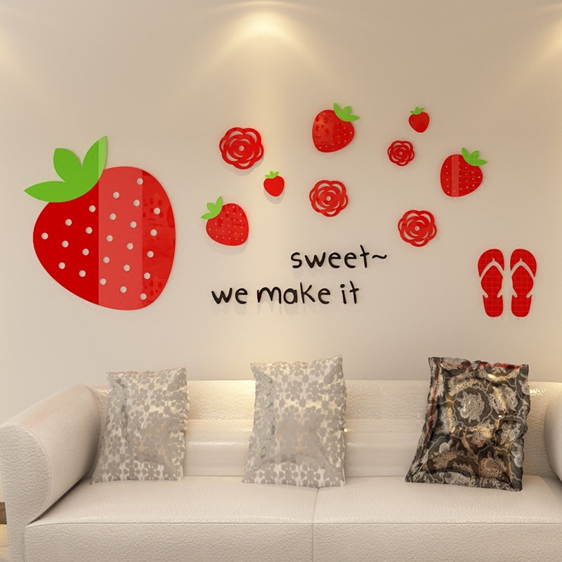1 PC Creative Strawberry 3D Stickers Sweet Home Wall Decor ...