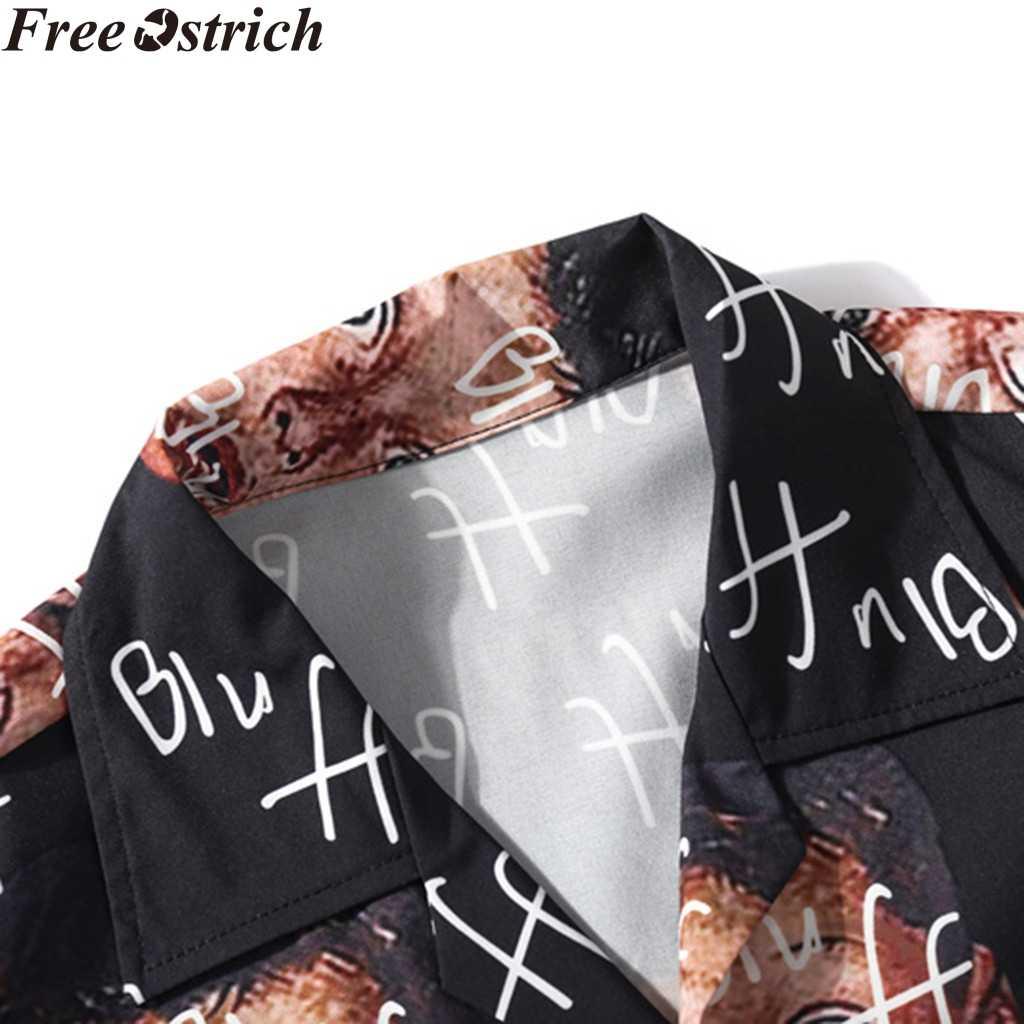 メンズ夏ルースシャツ半袖顔落書きファッションラペルボタンカジュアルスリムトップスプラスサイズヒップホップソフト男性のシャツ