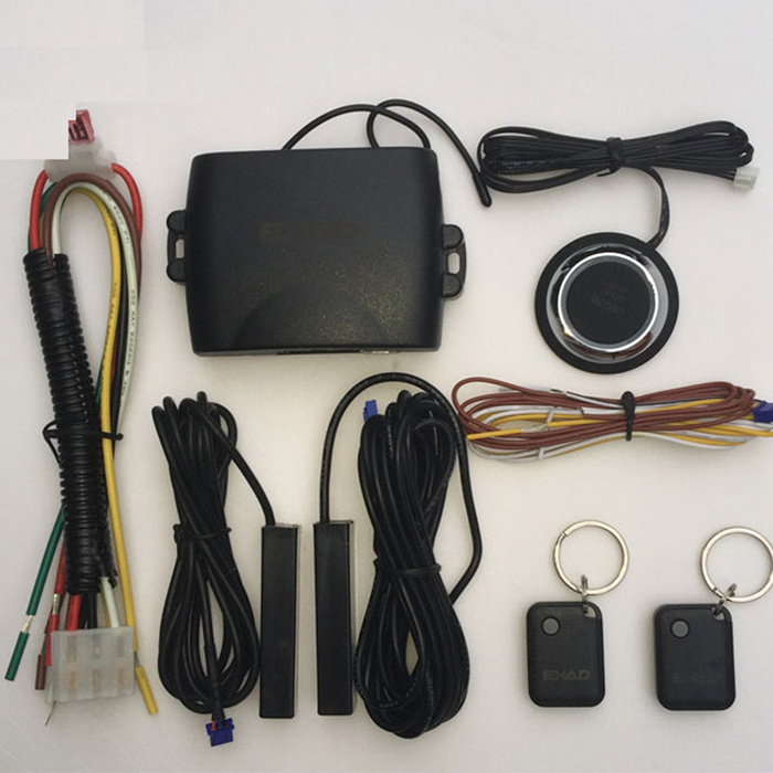 PKE Car Alarm System Remote Start Built-n Lock Car System Alarm Keyless Push Button Start Car Security 3 button key For Peugeot