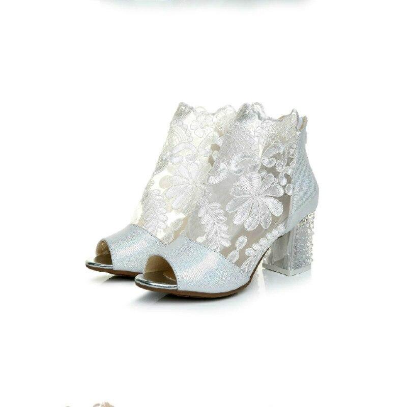 Chaussures de danse salsa sandales à talons rugueux pour femmes, véritable cuir haute dentelle, dentelle sexy, chaussures carrées en maille, chaussures de danse sociale pour femmes.