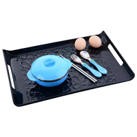 Solid Serving Trays Black Rectangle Pallets Storage Anti Skidding Plate With Handle For Home Hotel Tableware
