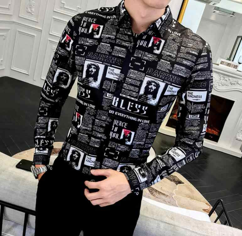 2020 Autumn New Men's Newspaper Print Long Sleeve Shirt British Korean Slim Nightclub Bar Hair Stylist Color Shirt