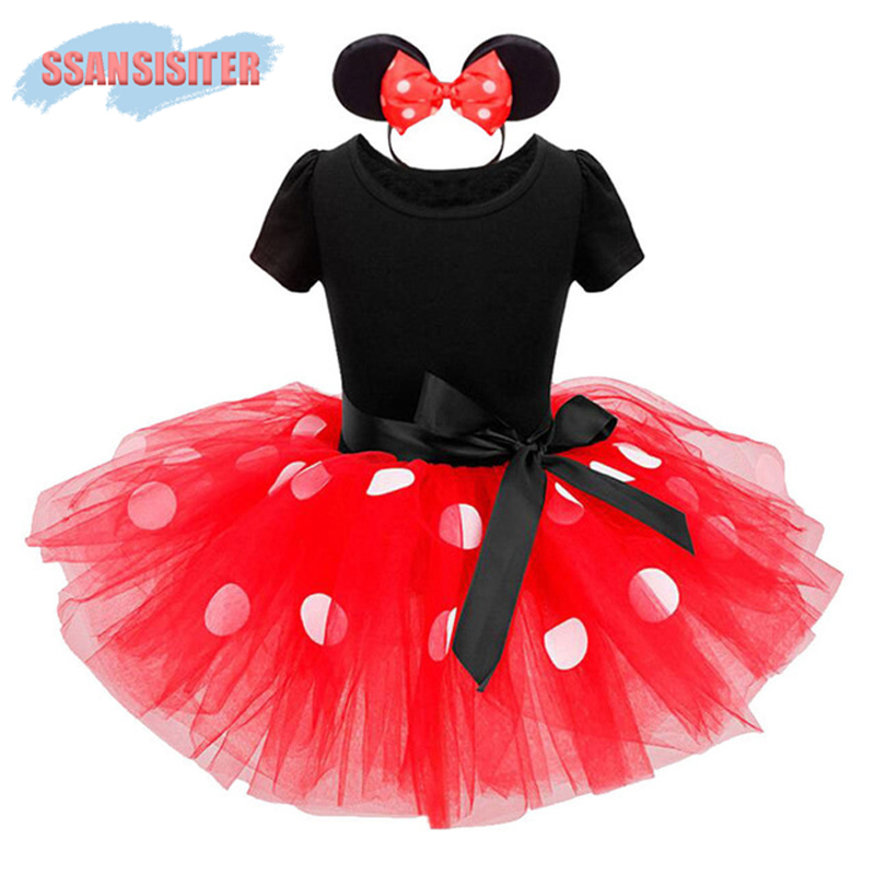 2PCS Girls Minnie Tutu Dress Set Ballet Mouse Princess Party Costume Dresses Polka Dot Dress+Headband Bow Dress Kids Vestidos