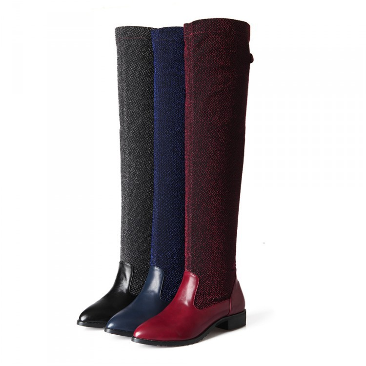 ФОТО 2017 Botas Mujer Big Size 34-43 Brand Design Patch Color Over The Knee Boots Thick Sole Platform Slim Long Winter Autumn A98