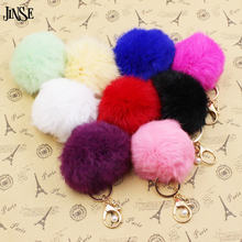Christmas Gift Real Rabbit Fur Ball Plush Fuzzy Fur Key Chain POM POM Keychain Pompom Car Bag Keychain Key Ring Pendant Jewelry