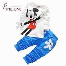 2016 1-4 T Bébé Garçons Mickey Imprimer Casual Vêtements Ensembles Enfants Garçon Longue manches Coton T-shirt + Pantalon 2 pcs Costume Roupas Bebes T379