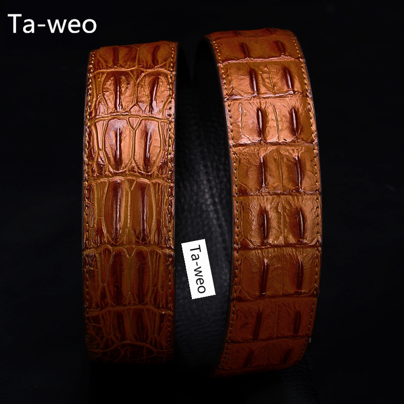 (No Buck, Only Belt) Mote High Quality Leather & PU Belter, Crocodile Bone Striped Pattern, Menns Belter Luxury