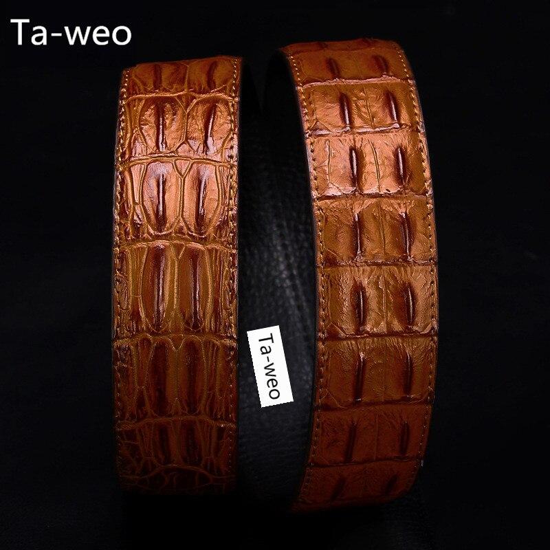 (Sin hebilla, solo cinturón) y PU cinturones de cuero de alta calidad a la moda, patrón de rayas de hueso de cocodrilo, cinturones de lujo para hombre
