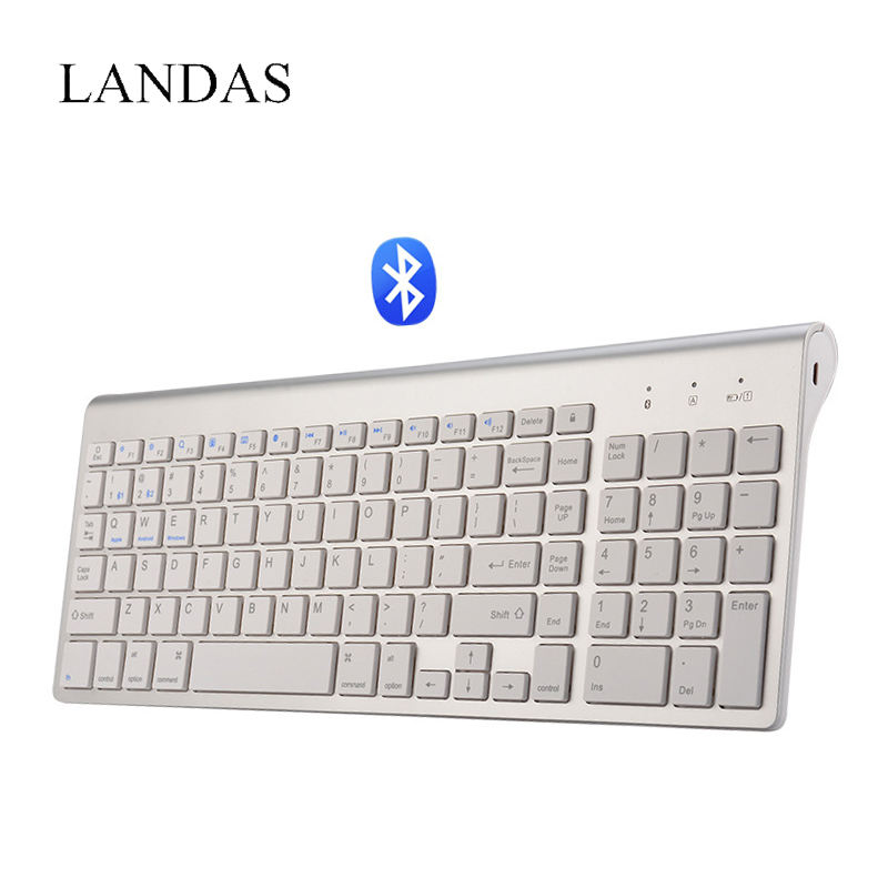 Landas USB Wired Keyboard For Smart TV 102 Key Bluetooth Wireless Keyboard PC For iPad Tablet Keybords For Desktop Notebook PC quwind german keyboard bluetooth wireless keyboard for ipad pc notebook laptops for ios and android white