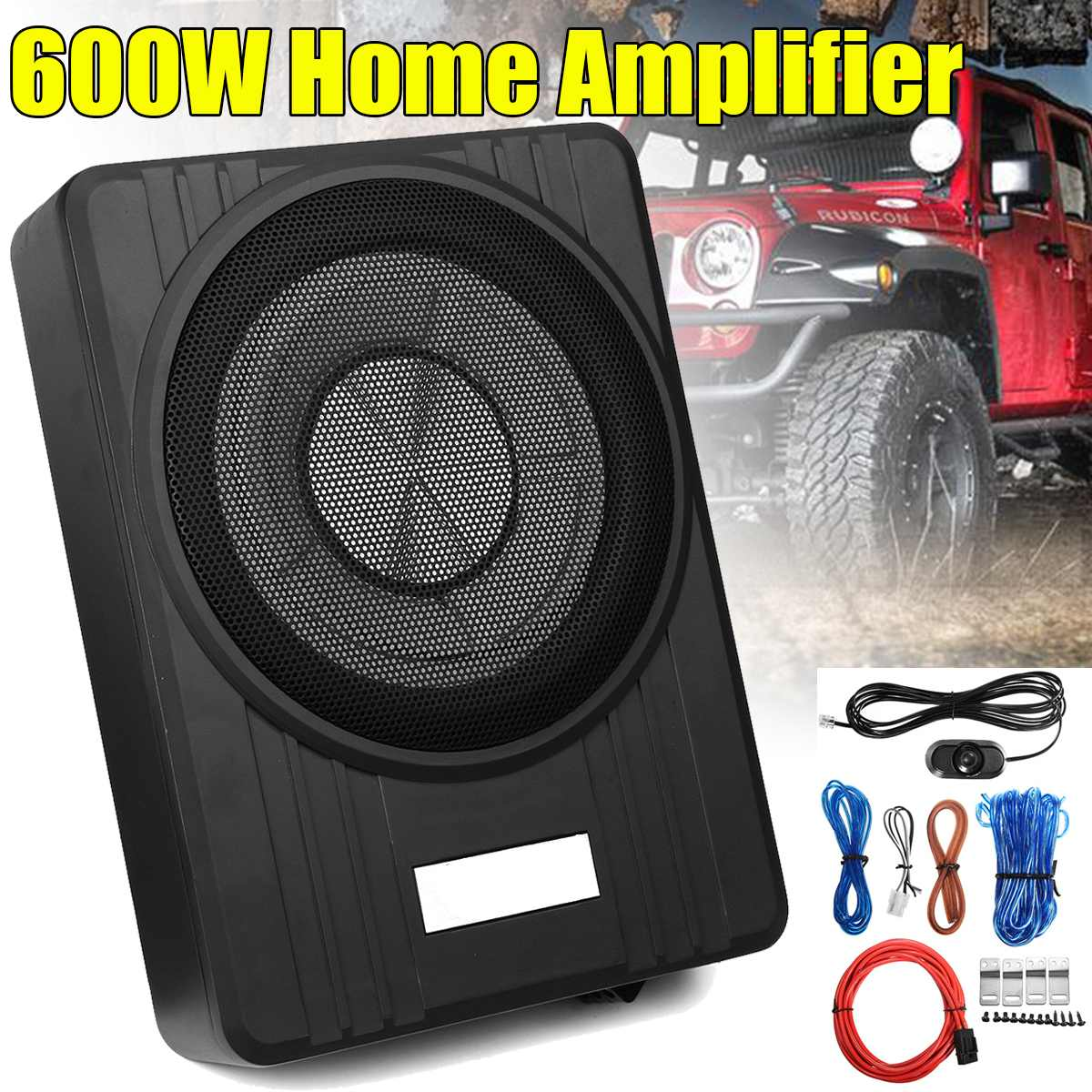 Under Seat Ultra Thin Car Subwoofer Slim Active Amplifier Speaker 600W 10 Inch
