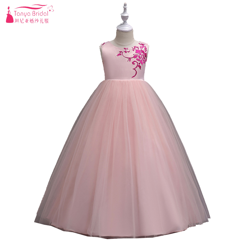 Blush Pink A Ling Princess   Flower     Girls     Dress   Embroidery zipper Sash Lovely Kids Pagent Communion Gowns ZF045