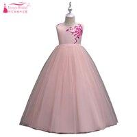 Colorete rosa un Ling princesa flor Niñas vestido Bordado cremallera SASH niños encantadores pagent vestidos de comunión zf045