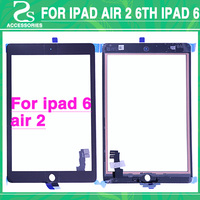 For iPad 6 Touch Screen For ipad air 2 6th Display Digitizer Touch Sensor Glass Panel + Flex Cable With Back Sticker Adhesive