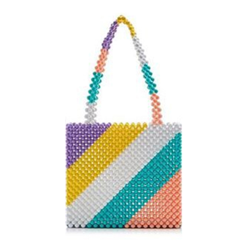 Ins Popular Bead Bag Rainbow Hand woven Pearl Celebrity Handbag Europe United States Unique Design Colourful Ladies Party Bag-in Top-Handle Bags from Luggage & Bags    3