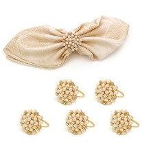 Set de 6 unidades de anillos de servilletas de perlas para fiesta de boda, servilleta de flores de cristal dorado, hebilla de servilleta para decoración de mesa de cena