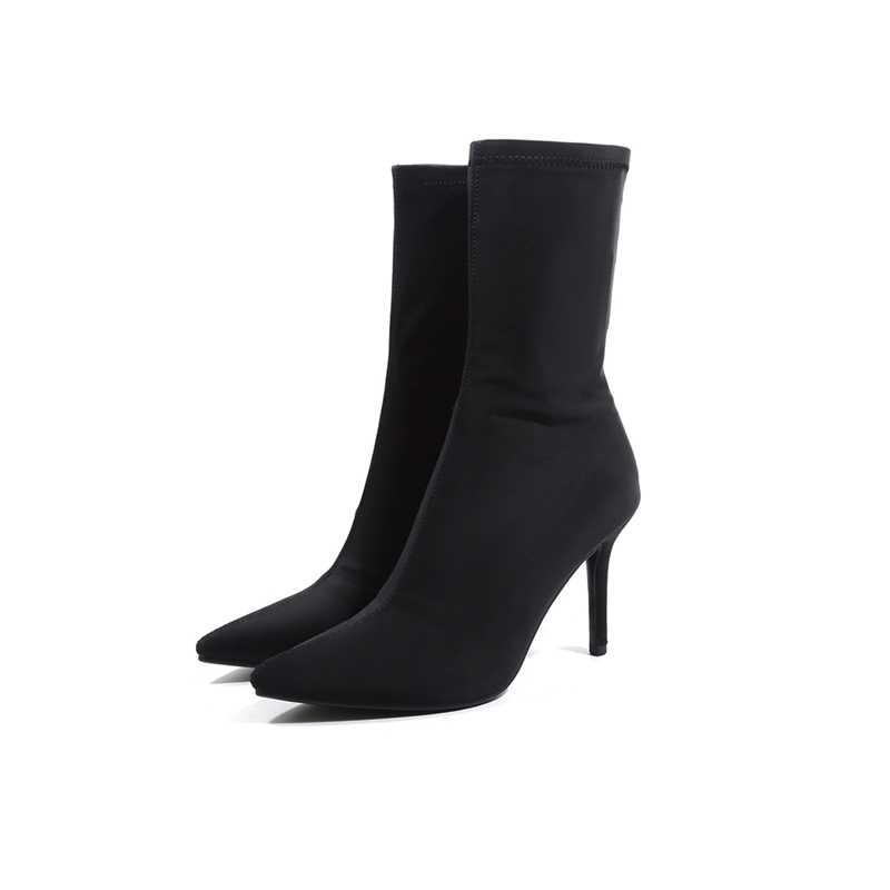 2018 Sonbahar Yeni Kadın Çorap Streç Kumaş Üzerinde Kayma 8 CM Yüksek Topuklu Sivri Burun yarım çizmeler Kadın Pompaları Stiletto bayan Ayakkabıları