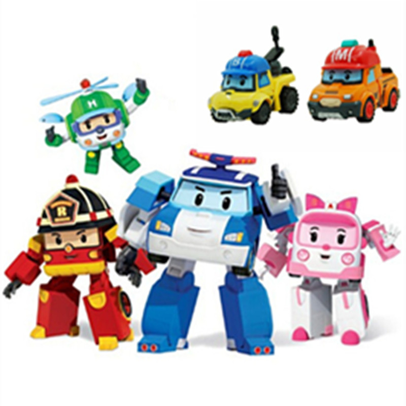 6pcs/Set Robocar Poli Anime Action Figure Transformation Robot Car Toy Korea Poli Robocar Kids Toys