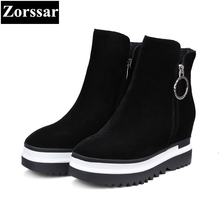 Zorssar Wedge Womens Boots 2017 New Platform Shoes Woman Creepers zipper woman Ankle Boots Fashion