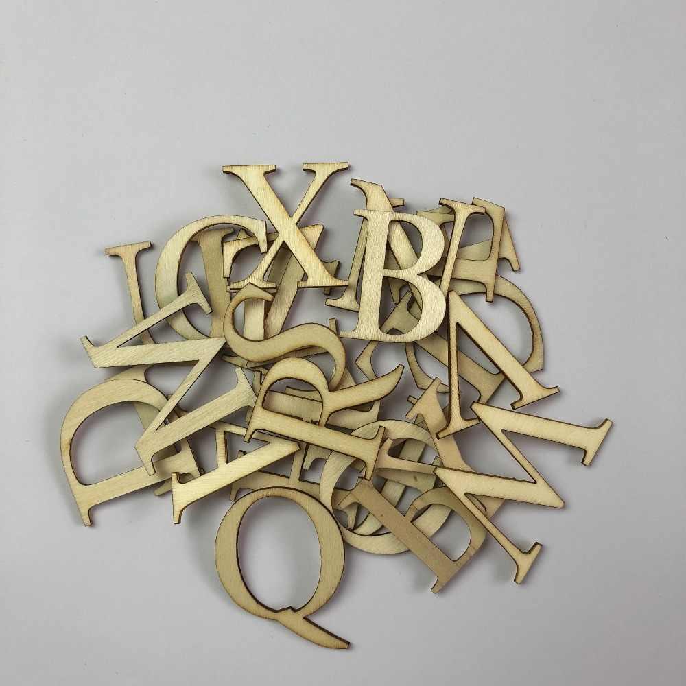 52Pcs//Set Arts Crafts Wooden Letters Numbers Decoration Alphabet Educational DIY