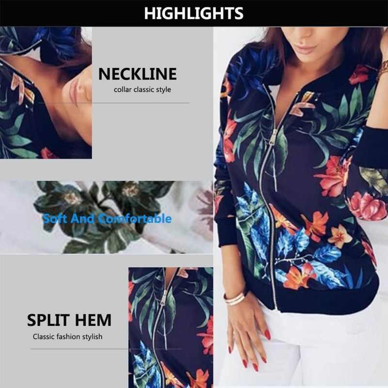 Jaket Wanita Bunga Cetak Wanita Retro Zipper Up Pendek Tipis Slim Jaket Mantel Fashion Dasar Pakaian Kasual 5XL